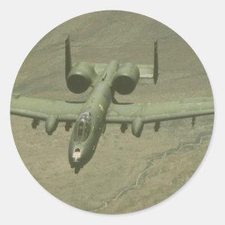 A-10 Warthog anti-tank aircraft, aerial shot Round Sticker