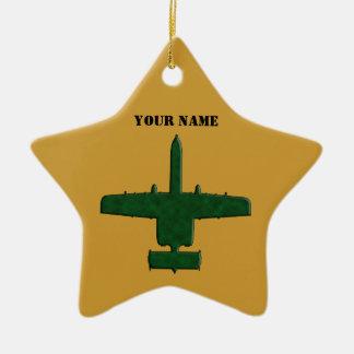 A-10 Warthog Silhouette Green Camo Airplane Ceramic Star Ornament