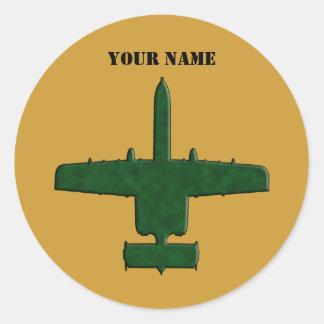 A-10 Warthog Silhouette Green Camo Airplane Round Sticker
