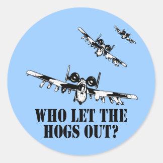 A-10 Warthog Round Stickers