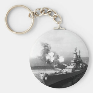 A 16-inche salvo from the USS _War Image Basic Round Button Keychain
