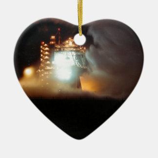 A-1 Test Stand Night Firing Ceramic Heart Ornament