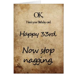 A 33rd birthday for a nag card
