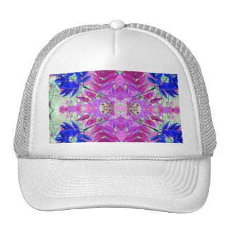 A abstract Pink Blue Floral Pattern Trucker Hat