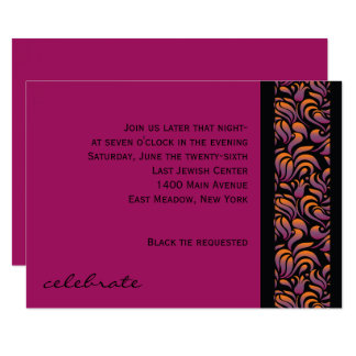 A Aleph Hebrew Collection Bat Mitzvah Party Card