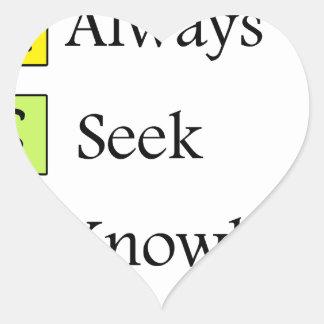 a always s seek k knowledge heart sticker