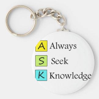 a always s seek k knowledge keychain