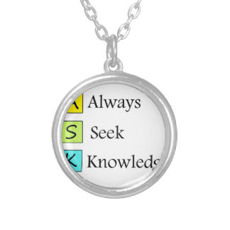 a always s seek k knowledge silver plated necklace