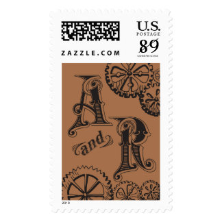 A and R Steampunk Monogram Postage Stamps