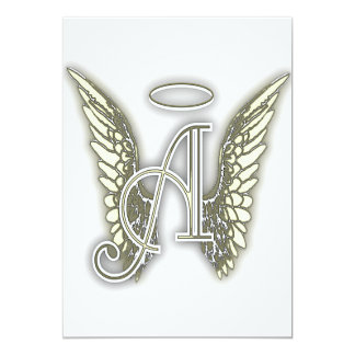 "A - Angel Alphabet Initial Lrtter Wings Halo 5"" X 7"" Invitation Card"