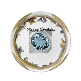 A Aquamarine Birthday Plate
