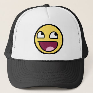 A AWESOME SMILEY FACE PRODUCT TRUCKER HAT