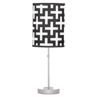 A b&w patterns made with 'plus' sign table lamp