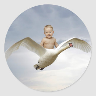 A baby and the swan sky stickers