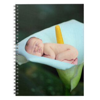 A baby and water lily flower notebooks
