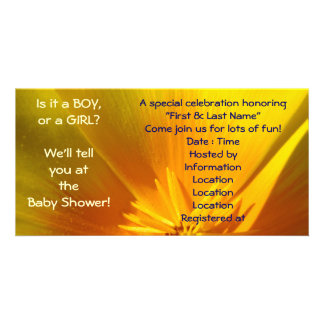 A Baby Boy A Baby Girl? Find out at Baby Shower! Personalized Photo Card