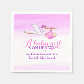 A baby girl is on her way stork napkins disposable napkins