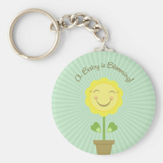 'A Baby is Blooming' Round Keychain Green