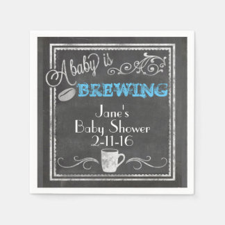 A Baby is Brewing Napkin (Boy)! Paper Napkins