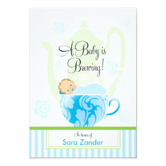 "A Baby Shower Tea Party  |  Boy 5"" X 7"" Invitation Card"