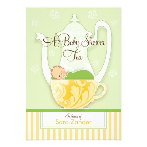 A Baby Shower Tea Party     Gender Neutral Custom Invitations