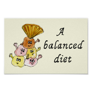 A balanced diet! Funny ice cream poster design