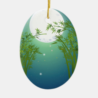 A bamboo forest under the bright fullmoon ceramic ornament