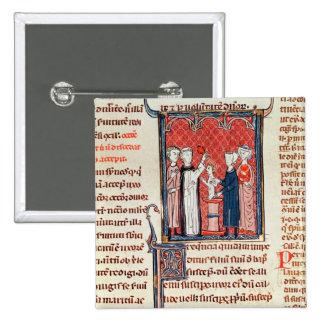 A Baptism Scene, from 'Decrets de Gratien' 2 Inch Square Button