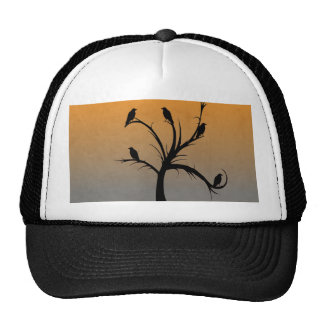 A Bare Tree with Silhouettes of Crows Trucker Hat