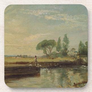 A Barge below Flatford Lock, c.1810 (oil on canvas Drink Coaster