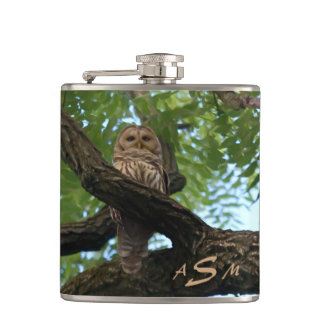 A Barred Owl on a Branch in the Woods Hip Flask