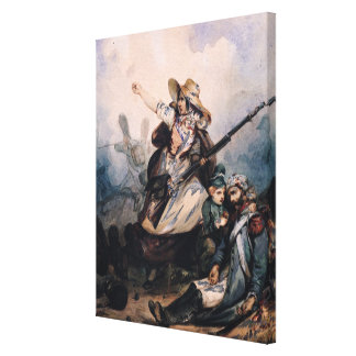 A Barricade in 1830, 1834 Stretched Canvas Print