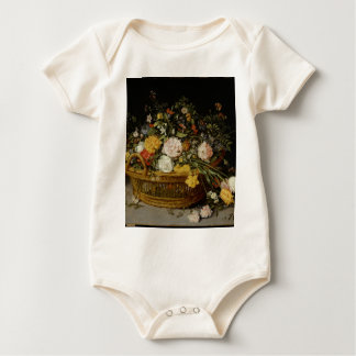 A Basket of Flowers - Jan Brueghel the Younger Baby Bodysuit