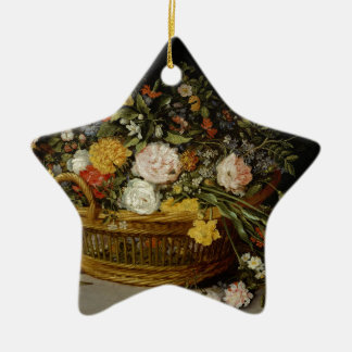 A Basket of Flowers - Jan Brueghel the Younger Ceramic Ornament