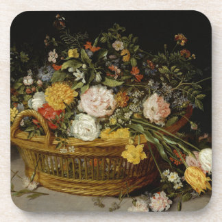 A Basket of Flowers - Jan Brueghel the Younger Coaster