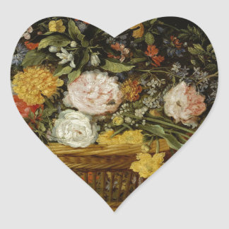 A Basket of Flowers - Jan Brueghel the Younger Heart Sticker