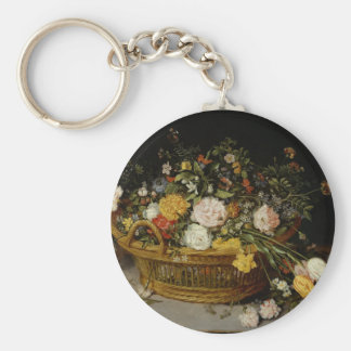A Basket of Flowers - Jan Brueghel the Younger Keychain
