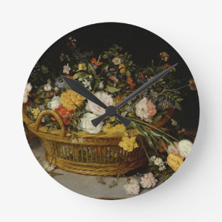 A Basket of Flowers - Jan Brueghel the Younger Round Clock