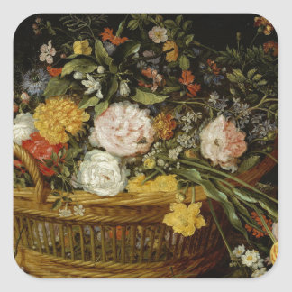 A Basket of Flowers - Jan Brueghel the Younger Square Sticker