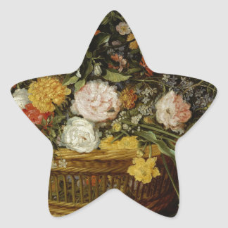 A Basket of Flowers - Jan Brueghel the Younger Star Sticker