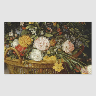 A Basket of Flowers - Jan Brueghel the Younger Sticker