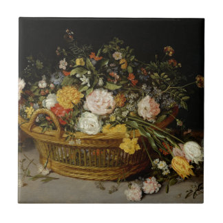 A Basket of Flowers - Jan Brueghel the Younger Tile