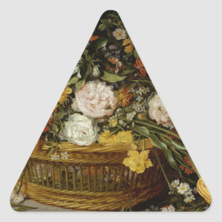 A Basket of Flowers - Jan Brueghel the Younger Triangle Sticker