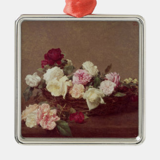 A Basket of Roses, 1890 Silver-Colored Square Ornament