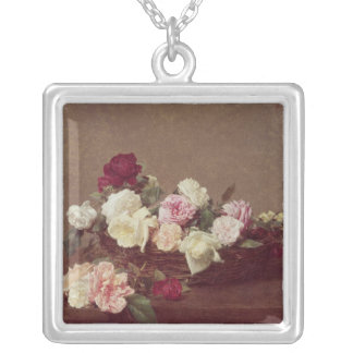 A Basket of Roses, 1890 Silver Plated Necklace