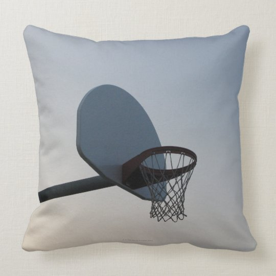 A basketball backboard hoop and net. Clear blue Throw Pillow