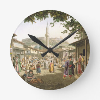 A Bazaar in Athens, plate 1 from Part 1 of 'Views Wall Clocks