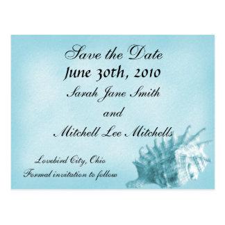 A Beach Wedding Save the Date Postcard (Blue)