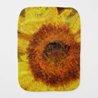 A beautiful abstract sunflower burp cloth