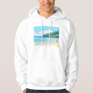 A beautiful beach in the Seychelles Hooded Sweatshirt